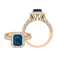 2.25カラットアンティーク婚約指輪、ロンドンブルートパーズとモアッサナイトアクセント(6X8mm 八角形カットロンドンブルートパーズ), 14K ローズゴールド, Size: 26