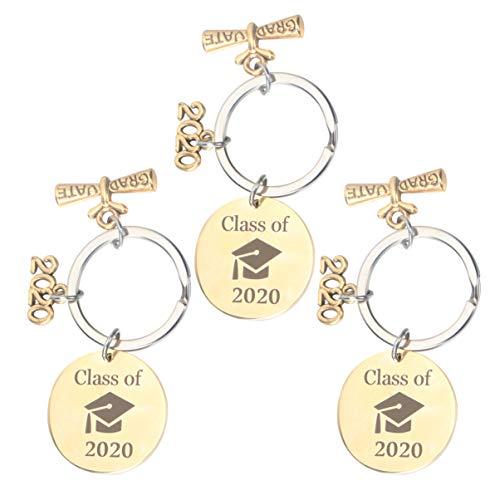 Amosfun 3 Piezas Llavero de Graduación 2020 Etiquetas de Patrón de Sombrero de Graduación Clave de Acero Inoxidable Anillo de Graduación Estudiantes Regalos de Graduación Colgantes (Color Mixto)