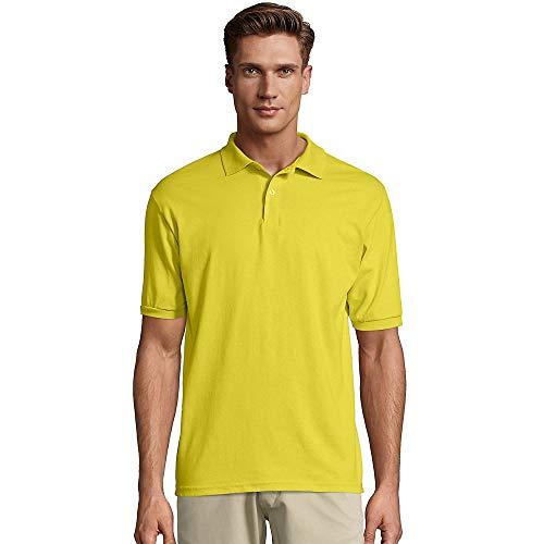 Hanes Men's Cotton-Blend EcoSmart Jersey Polo Yellow 3XL