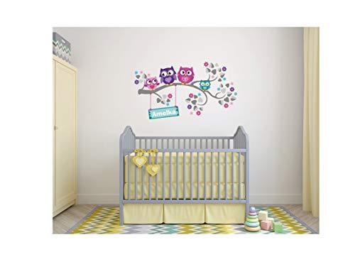 Wandtattoo kinder Babyzimmer Aufkleber Eule Eulen Wandsticker Wand Waldtiere Kinderzimmer Wandaufkleber Dekoration fürs Baby Kindergarten Baum Tiere kinderzimmer