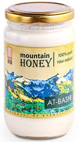 Raw White Honey; Natural Organic Creamed Wildflower Mountain Honey from Central Asia – Unheated & Unfiltered - Contains Natural Enzymes, Pollen & Propolis – by Mira Nova (15.8 Ounce)