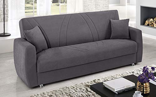 Dafne Italian Design - Sofá cama de 3 plazas de microfibra gris (225 x 87 x 92 cm)