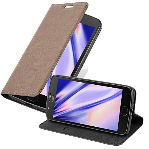 Cadorabo Hülle für Motorola Moto E4 Plus - Hülle in Kaffee BRAUN – Handyhülle mit Magnetverschluss, Standfunktion & Kartenfach - Hülle Cover Schutzhülle Etui Tasche Book Klapp Style
