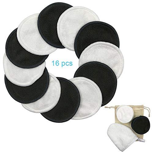 Waroomss - 16 discos desmaquillantes reutilizables, discos de algodón naturales de doble capa con cesta para la colada, toallas suaves y ecológicas para la limpieza del rostro Handy Picks