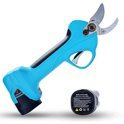 KOHAM Professional Cordless Electric Pruning Shears with 2pcs Backup Rechargeable 2Ah Lithium Battery Powered UL Compliant Tree Branch Pruner, 25mm (1 Inch) Cutting Diameter, 6-7 Working Hours (Blue)
