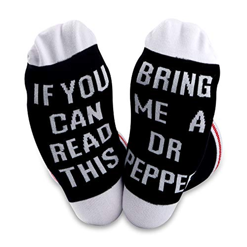 2 PAIRS Dr Pepper Gift Novelty Socks For Men Women Dr Pepper Lover If You Can Read This Bring Me A Dr Pepper (DR PEPPER Black)