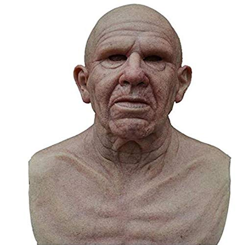 HUA JIE Máscara de Anciano Realista The Elder, máscara Arrugada, máscara de látex con Cabeza Completa para Disfraces de decoración Realista de Fiesta de Halloween