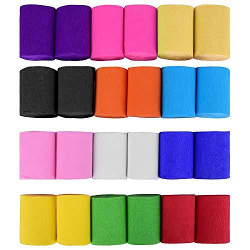 SIMUER 24 Rollen Krepp Bänder Bunt, 12 Farben Kreppband Krepppapier Bänder Crepe Paper für Deko Party Feier Dekoration(3.5cm*10m/Rolle)