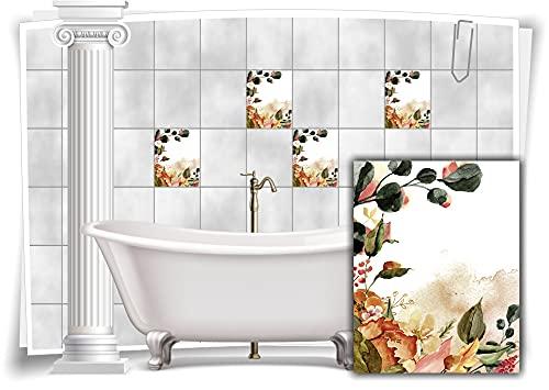 Medianlux Pegatinas para azulejos de baño con diseño floral nostálgico, 8 unidades, 15 x 20 cm, m13m163h-140907