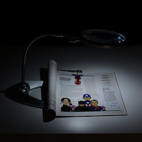 XYK Leselupe, 14 cm Durchmesser, faltbares Design mit 2LED-Lampen, Stromversorgung durch 3x AAA Batterien; inkl. Zusatzlinse mit 5-facher Vergrößerung und 2,5 cm Durchmesser - 6