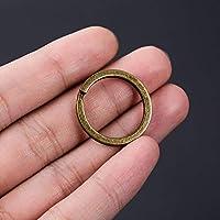 WYHA 女性の男性のための10pcs /パックブラックガン色25MMキーホルダー鉄合金キーリングアンティークブロンズキーホルダーアクセサリー (Color : Antique bronze)