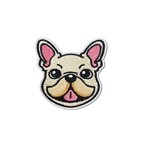Hinihao 1 pc French Bulldog Animal Sticker Stick on/Iron on/Sew on Patch Applique for Clothes,Backpack,Phonecases,Helmat,DIY Accessories