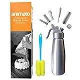 Animato Whipped Cream Chargers Dispenser - Nitro Cold Brew Coffee Maker Whipping Siphon. Leakproof Stainless Steel Decorating Tips with Bonus Cleaning Brushes, Recipe eBook. Aluminum 1 Pint Silver