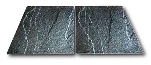 2 x Glas Herdabdeckplatte Herdabdeckung Schneidebrett Abdeckplatte für Ceranfeld Design Schiefer extra für große 80 cm Kochfelder Herdblende