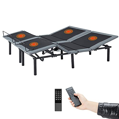 Esright Electric Massage Adjustable Bed Frame with Wireless Remote, Zero Gravity Bed Base Compatible with Double Massage Point & Heavy Duty Steel Frame, Separate Head and Foot Incline Bed(Split King)