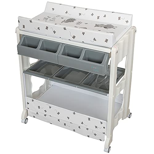 ib style®ISA table à langer   commode à langer mobile   avec rux   4 designs   My little Farm grey