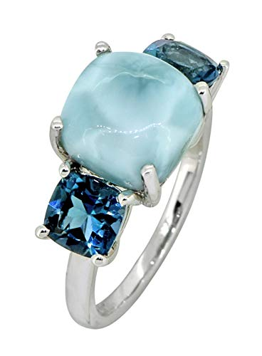 YoTreasure 7.37 Cts. Larimar London Blue Topaz Solid 925 Sterling Silver Ring Blue