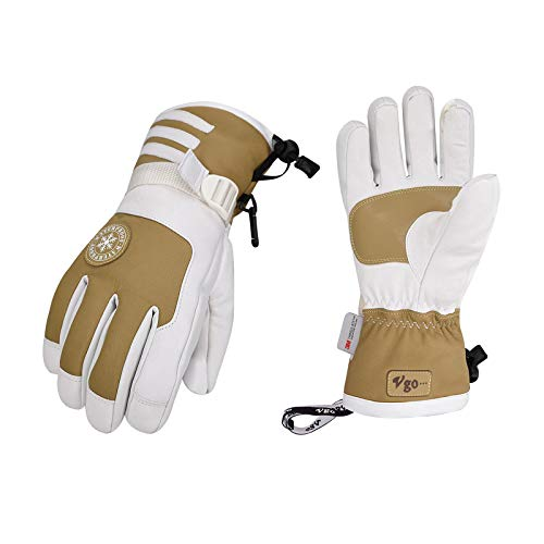 Vgo -4℉ or Above 3M Thinsulate G150 Lined Winter Men's Goatskin Leather Skiing Gloves Waterproof Insert (Size XL, Khaki, SF-GA2446FW)