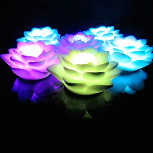 LEDMOMO Lámpara de loto, color que cambia la luz de la noche de la luz de la noche de la flor del LED para la decoración de la barra del banquete de boda