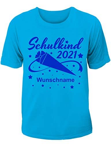 T-Shirt Einschulung/Schulanfang: Schulkind 2021 mit Wunschnamen