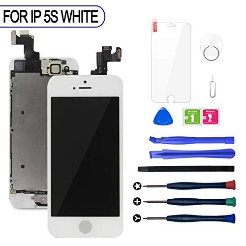 LWMTT Display Reparaturset für iPhone 5S UND iPhone SE Display Weiß Ersatz LCD Touchscreen Digitizer mit Bildschirm Glas und Komplettes Werkzeugset mit Frontkamera, Home Button, Lautsprecher