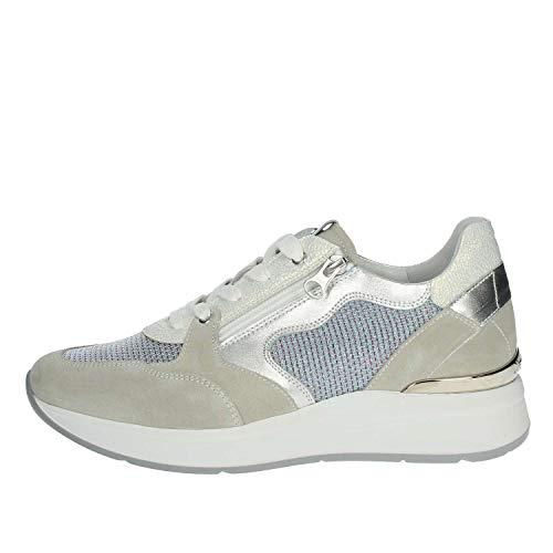 Sneakers NeroGiardini per Donna in Pelle Tessuto Argento Bianco camoscio Grigio (Taglia 37)
