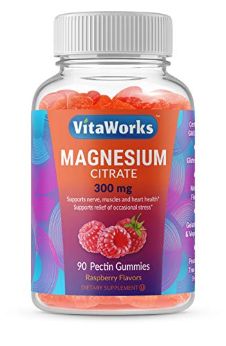 VitaWorks Magnesium Citrate - Great Tasting Natural Flavor Gummy Supplement - Gluten Free Vegetarian GMO-Free Chewable, for Sleep, Anxiety, Stress Relief Support - for Adults Men Women - 90 Gummies