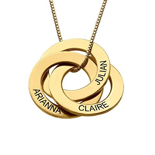 MyNameNecklace Collar Anillo Ruso Grabado (Oro Vermeil)