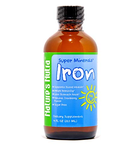 Super Minerals Iron Liquid Supplements,Nature's Nutra High Absorption Iron Drops for Infants Children,Blood Health Increase Iron Level,4fl oz(120ml)