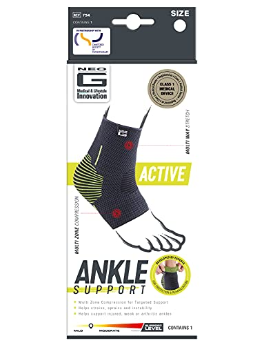 Neo G Ankle Support – For Sprains, Strains, Ankle Injury, Sports Activities, Joint Pain, Arthritis, Injury Recovery - Multi Zone Compression Sleeve – Active Support - Class 1 Medical Device - Medium