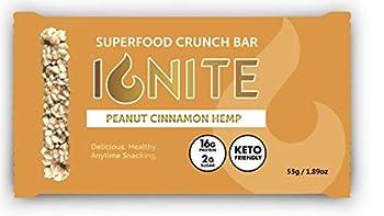 Ignite Superfood Protein Crunch Bars – Peanut Cinnamon Hemp Flavor Healthy Snack Bar – High Quality 16g Protein – Gluten Soy & Grain Free – Prebiotic Digestive Support – Keto Friendly