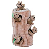 HIDE & SQUEAK FUN: The Hide A Squirrel dog puzzle is an easy way to get your furry friends engaged for hours of fun Just fill the tree trunk with 6 stuffed squeaky squirrels, toss it, and let your dog's natural hunting instincts kick in 2-IN-1 INTERA...