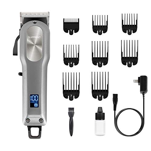 professional SUPRENT rechargeable hair clippers, professional hair clippers with 2000 mAh lithium-ion battery, …