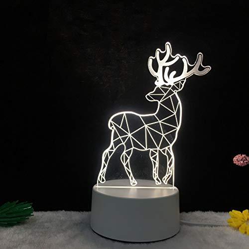 3D nachtlicht led Stereo tischlampe elch Turm Schlafzimmer mond nordischen Cartoon kreative Lampe elch 4