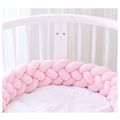 Bettumrandung,Baby Nestchen Kinderbett Stoßstange Weben Bettumrandung Kantenschutz Kopfschutz für Babybett Bettausstattung 220cm (Rosa)