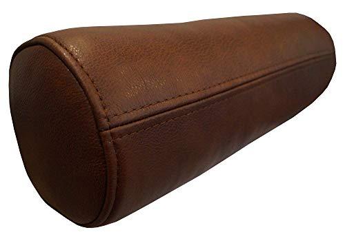 Quattro Meble Bruin echt leer nekrol nekkussen lederen kussen sofa decokussen rundleer kussen hoofdsteun hoofdsteun hoofdkussen doorsnee-20cm leer granada cognac