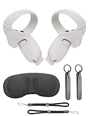 TATACO Touch Controller Grip Cover with Adjustable Knuckle Straps, VR Lens Protect Cover, Wrist Straps for Oculus Quest 2, Anti-Throw Handle Silicone Protective Sleeve White