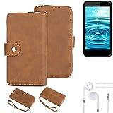 K-S-Trade® Handy-Schutz-Hülle Für Energizer H500S + Kopfhörer Portemonnee Tasche Wallet-Case Bookstyle-Etui Braun (1x)