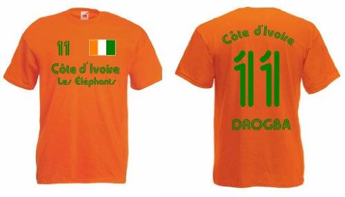 Fruit of the Loom Elfenbeinküste Les Elephants T-Shirt Nr.11 Drogba Trikot|o-m
