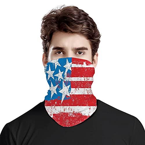 FULIYA Gran cara cubierta bufanda protección cuello, bandera de la cultura Solidaridad de Estados Unidos Estrellas Inspiración Retro Royalty Artwork,Variedad bufanda de cabeza unisex
