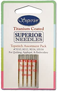 Superior Threads Topstitch Titanium Coated Sewing Needles - Variety Sewing Needle Set for Piecing, Applique and Embroidery, 5 Pack