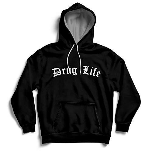 Drug Life Festival Weed Thug Life Street Hoody MP3 Kopfhörer Loops Hoodie Gr. S, Schwarz