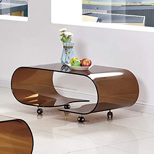 Homely - Mesa de Centro con Ruedas y Cristal Curvado de una Pieza Coffee - 90x50 cm.