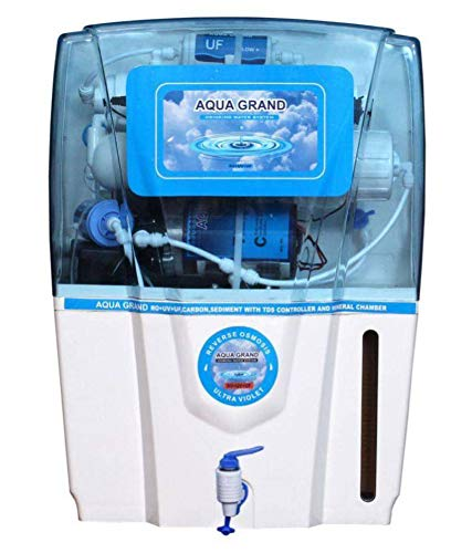 AQUAGRAND Grand Plus 12 ltrs Mineral Ro+Uv+Tds Adjuster And Uf Water Purifier - White