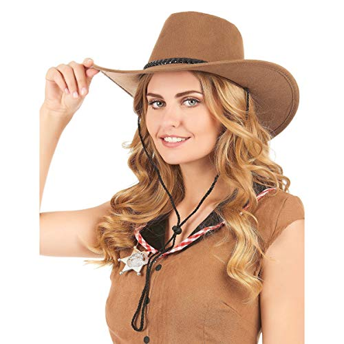 DEGUISE TOI - Chapeau Cowboy Marron en Suede Adulte - Taille Unique