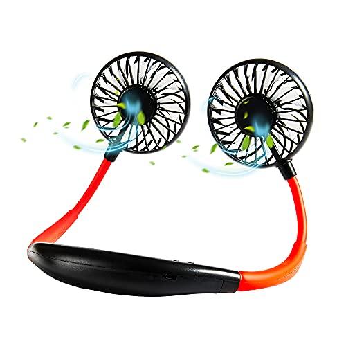 Ventilador de Cuello Colgante Sin Hojas, Ventilador USB Personal Recargable portátil,rotación Libre de 360 °, luz LED, para Actividades en Interiores y Exteriores(Negro)