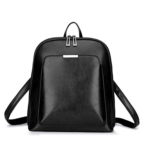 T-ara The New Women Backpack Leather School Bags For Girls Lady Unsubdivided Style Backpack Enceinte Capacity Leisure Shoulder Ba Essential for hiking (Color : Black, Size : XL)