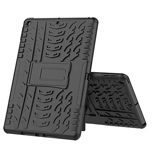 ZHIWEI Tablet PC Bolsas Bandolera Cubierta de Tableta para iPad Pro 10.2 2019 Textura de neumáticos TPU + PC Funda Protectora con Soporte de Mango Plegable (Color : Black)