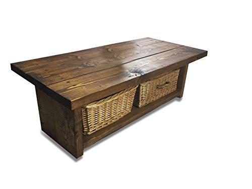 Solid Rustic Handmade Pine coffee table Lymington, finished in a Chunky Country Oak (120cm x 60cm x 50cm, Dark Oak)