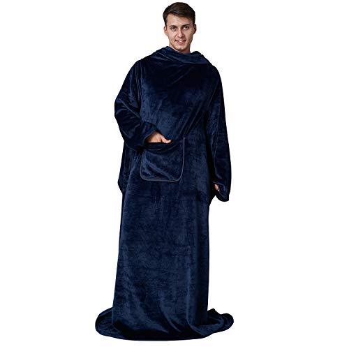 Eheyciga TV Blanket with Sleeves and Pocket, Soft Fleece Wearable Blanket for Adult, 170x200cm, Navy